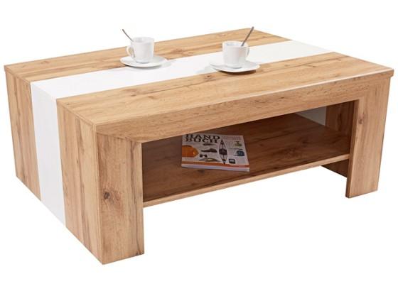 couchtisch in wotan eiche dekor madras mit absetzung in wei online kaufen m belix. Black Bedroom Furniture Sets. Home Design Ideas