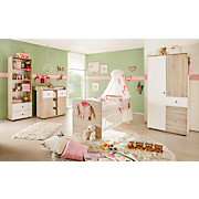 Babykombischrank Wiki 90 cm Eiche Dekor/weiß - Weiß/Sonoma Eiche, KONVENTIONELL, Holzwerkstoff (90/191/53cm)