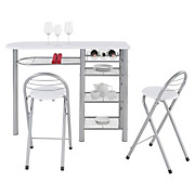 Bár Szett Stams - ezüst színű/fehér, konvencionális, üveg/fém (120/88/40cm)