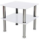Beistelltisch Peter - Chromfarben/Weiß, MODERN, Glas/Metall (45/43/45cm)