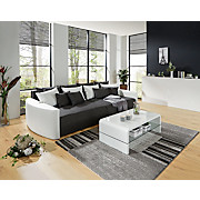 Bigsofa Pura - Schwarz/Weiß, MODERN, Holz/Textil (290/80/140cm) - LUCA BESSONI