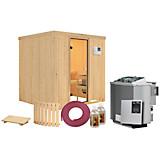 Bio-Sauna Cassis mit externer Steuerung (Kombi-Sauna) - Naturfarben, MODERN, Holz (196/198/196cm)