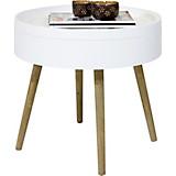 Couchtisch mit Stauraum Fjord im skandinavischen Stil - Naturfarben/Weiß, MODERN, Holz/Holzwerkstoff (55/49cm)