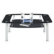 Couchtisch Snapper mit Ablage und Tischplatte aus Glas - Klar/Schwarz, MODERN, Glas/Metall (110/45/60cm)