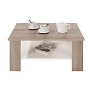 Couchtisch Trüffel Dekor Paolo mit Ablagefach in Weiß - Eichefarben/Trüffeleichefarben, MODERN, Holz/Holzwerkstoff (90/41/55cm)