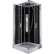 Duschkabine Design 2 - Chromfarben/Schwarz, MODERN, Glas/Metall (90/90/210cm)