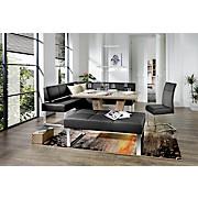 Eckbank Rab - Schwarz, MODERN, Leder/Metall (160/200cm) - OMBRA