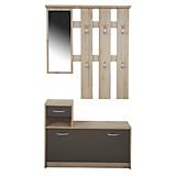 Előszoba Fal Iza - barna/tölgy színű, konvencionális, üveg/faanyagok (100/190/26cm)