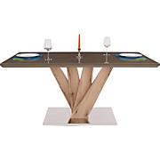 Esstisch Anton - Edelstahlfarben/Schlammfarben, MODERN, Glas/Holzwerkstoff (160/76/90cm)