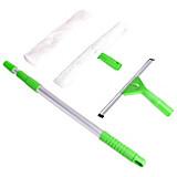Fensterwischer 4-teilig - Alufarben/Grün, KONVENTIONELL, Kunststoff/Textil - HOMEZONE