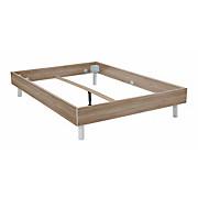 Futonbettrahmen Belia, 180x200 cm - Eichefarben/Alufarben, KONVENTIONELL, Holz (180/200cm)