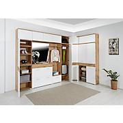 Garderobenbank Space New - Chromfarben/Eichefarben, MODERN, Holzwerkstoff (55/38/35cm)