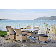 Gartengarnitur Venezia - Anthrazit/Braun, MODERN, Kunststoff/Textil - LUCA BESSONI