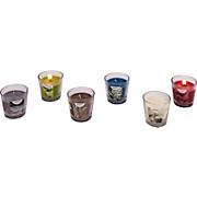 GYERTYA ÜVEGBEN JUNO - barna/petrol, konvencionális, üveg (4,8/6,5cm) - OMBRA