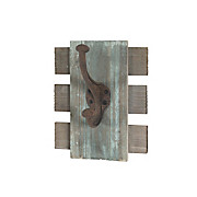 Hakenleiste Edith Mini - Blau/Braun, MODERN, Holzwerkstoff/Metall (16/20/11cm)