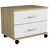 Jugend-rollcontainer Point 50 cm Eiche/weiß - Weiß/Sonoma Eiche, MODERN, Holzwerkstoff/Kunststoff (50/41/38cm)