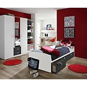 Jugendzimmer Point Weiß/anthrazit   Anthrazit/Weiß, MODERN, Holzwerkstoff