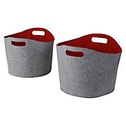 Kaminkorbset aus Filz, 2-teilig - Rot/Grau, MODERN, Textil
