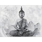 Keilrahmenbild Buddha - Schwarz/Weiß, KONVENTIONELL, Textil (120/90cm) - NOVEL
