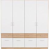 Kleiderschrank Aalen-extra - Eichefarben/Weiß, KONVENTIONELL, Holzwerkstoff (181/197/54cm)