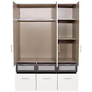 Kleiderschrank Nagold-extra - Weiß/Grau, KONVENTIONELL, Holzwerkstoff (136/197/54cm)