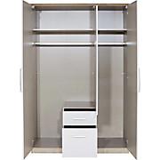 Kleiderschrank Wien - Eichefarben/Weiß, KONVENTIONELL, Holzwerkstoff (136/212/56cm)