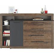 Komoda Bellevue - boje hrasta/crna, Lifestyle, drvni materijal/metal (162/108/42cm) - BASED