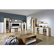 Komoda Eleganza - bijela/boje hrasta, Moderno, staklo/drvni materijal (179,9/87.3/38cm)