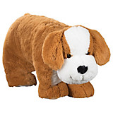 Kuschelkissen und Plüschtier Hund 76x90 cm - Braun/Weiß, Textil (76/90cm)
