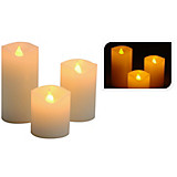 LED-kerzenset 3-teilig - Creme, KONVENTIONELL, Weitere Naturmaterialien (5/10cm)