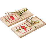 Mausefalle 2  teilig - Rot/Goldfarben, KONVENTIONELL, Holz/Metall (9.5cm)