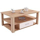 Moderner Couchtisch Livorno New San Remo Hell Dekor mit Laden - Eichefarben/Weiß, KONVENTIONELL, Holzwerkstoff (115/42/65cm)