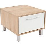 Nachtkästchen Box - Eichefarben/Alufarben, MODERN, Holzwerkstoff (50/37/50cm)