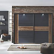 Ormar S Kliznim Vratima Bellevue - boje hrasta/crna, Lifestyle, drvni materijal/metal (270/210/61cm) - BASED