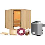 Sauna Nizza mit Interner Steuerung Am Ofen - Naturfarben, MODERN, Holz (196/198/196cm)