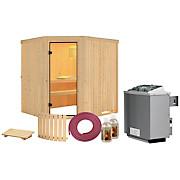 Sauna Toulon mit Interner Steuerung Am Ofen - Naturfarben, MODERN, Holz (196/198/178cm)