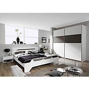 Schlafzimmer Ruby Alpinweiss - Dunkelgrau/Weiß, MODERN, Holzwerkstoff
