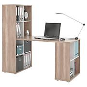 Schreibtisch Quattro - Eichefarben/Weiß, MODERN, Holzwerkstoff (146/143,2/68,5cm)