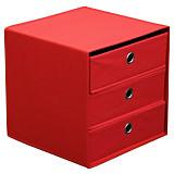 Schubladenbox Lisa - Rot, MODERN, Karton/Textil (32/32/32cm)