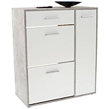 Schuhschrank Ybbs - Weiß/Grau, MODERN, Holzwerkstoff (90/100/33,3cm)