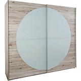 Schwebetürenschrank Arezzo 215 cm Sandeiche - Eichefarben/Weiß, MODERN, Glas/Holzwerkstoff (215/210/60cm)