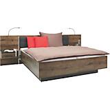 Set Krevet + Noćni Ormarić Bellevue - boje hrasta/crna, Lifestyle, drvni materijal/koža (305/97/209cm)