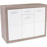 Sideboard Cancan 1 - Silberfarben/Silbereichenfarben, MODERN, Holz/Holzwerkstoff (132/90/35cm)