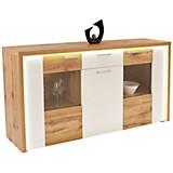 Sideboard Eleganza - Eichefarben/Alufarben, MODERN, Glas/Holzwerkstoff (179,9/87.3/38cm)
