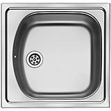 Spüle Etn610 - Edelstahlfarben, Metall (45.5/43.5cm)