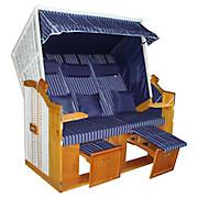 Strandkorb Valentina - Blau/Hellbraun, KONVENTIONELL, Holz/Kunststoff (160/165/79cm) - LUCA BESSONI