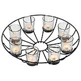 Teelichthalter für 8 Teelichter - Schwarz, MODERN, Glas/Metall (35cm)