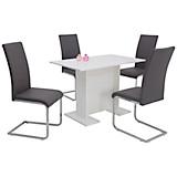 Tischgruppe Ines - Weiß/Grau, MODERN, Holzwerkstoff/Textil