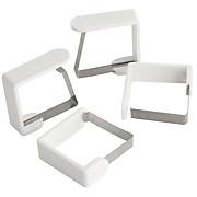 Tischtuchklammer Probus, 4 Stk. - Edelstahlfarben/Weiß, KONVENTIONELL, Metall (4.5/4.3/1.6cm)
