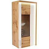 Vitrina Eleganza - bijela/boje hrasta, Moderno, staklo/drvni materijal (65/134.3/38cm)